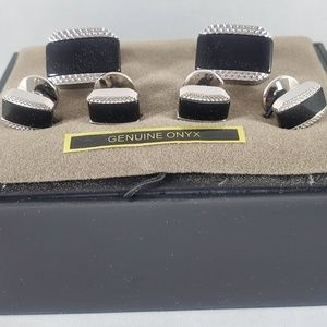 Jos. A. Bank Black Onyx and Silver tone Cuff links